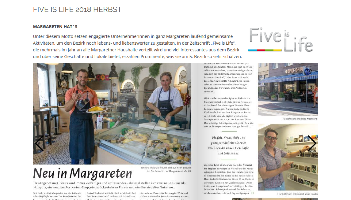 Five is Life 2018 Herbst - Dai Golosi neu in Margareten